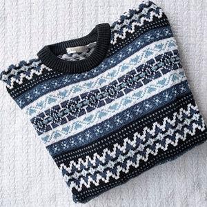 Claiborne Mens Blue Fair Isle Thick Knit Sweater L